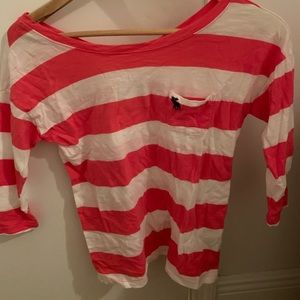 Hot pink striped Abercrombie top